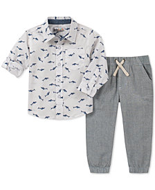 Kids Headquarters Baby Boys 2-Pc. Printed Oxford Shirt & Striped Jogger Pants Set