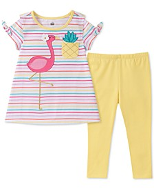 Baby Girls 2-Pc. Flamingo Tunic & Leggings Set