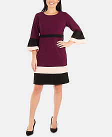 NY Collection Bell-Sleeve Colorblocked Dress
