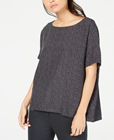 Eileen Fisher Tencel® Printed Boat-Neck Top, Regular & Petite