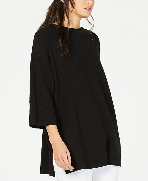 Eileen Fisher Organic Vented-Hem Tunic Sweater