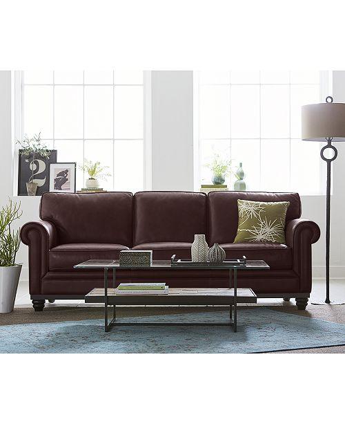 Martha Stewart Collection Bradyn Leather Sofa Collection, Created ...