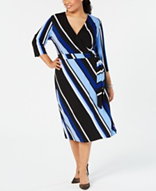 ea26d0a9e03f9 I.N.C. Plus Size Striped Faux-Wrap Dress
