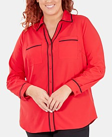 Plus Size Contrast-Trim Roll-Tab Shirt