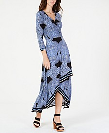 INC Petite Asymmetrical-Hem Faux-Wrap Dress, Created for Macy's