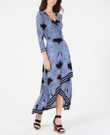 I.N.C. Petite Asymmetrical-Hem Faux-Wrap Dress, Created for Macy's