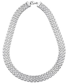 """Panther Link 17"""" Collar Necklace in Sterling Silver, Created for Macy's"""