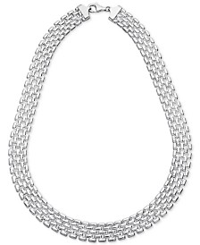 "Giani Bernini Panther Link 17"" Collar Necklace in Sterling Silver, Created for Macy's"