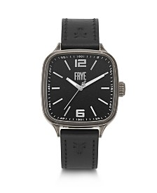 Frye Mens' Bowery Square Case Black Leather Strap Watch