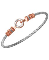 5cf0de138c5c 925 Sterling Silver with 18k Rose Gold Plate Two-Tones Cubic Zirconia  Braided Bangle