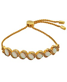 18K Gold over Sterling Silver with Lab Created Opal and Cubic Zirconia Adjustable Bracelet 9""