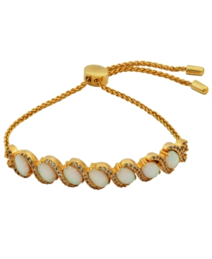 18K Gold over Sterling Silver with Lab Created Opal and Cubic Zirconia Adjustable Bracelet 9