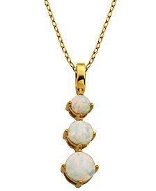 """18K Gold over Sterling Silver with Lab Created Opal 3-Stone Pendant with 18"""" Chain"""