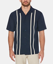 Cubavera Men's Big & Tall Stripe Panel Camp Shirt