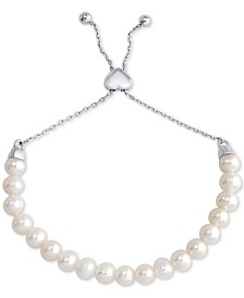 Freshwater Pearl (6-1/2mm) Bolo Bracelet in Sterling Silver