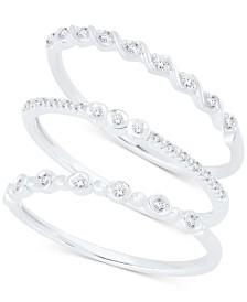 3 Pc. Set Diamond Stack Rings (1/6 ct. t.w.).