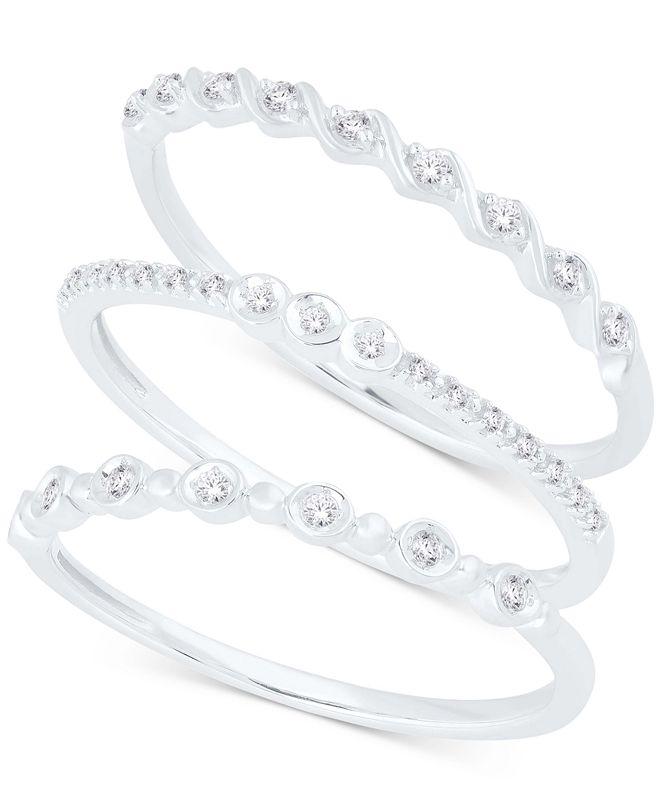 Macy's 3 Pc. Set Diamond Stack Rings (1/6 ct. t.w.).