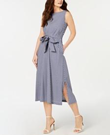 Anne Klein Gingham Midi Dress