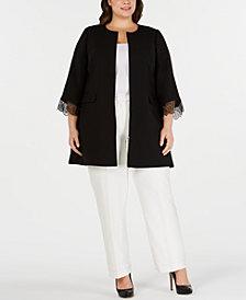 Alfani Plus Size Lace-Trim Jacket, Created for Macy's