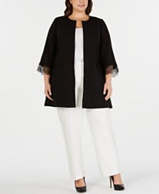 Alfani Plus Size Lace-Trim Jacket, Created for Macy's