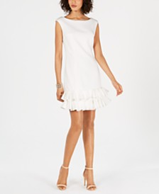 Donna Ricco Ruffled-Hem Sheath Dress