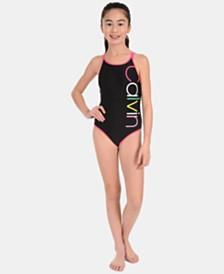 Calvin Klein Big Girls 1-Pc. Logo Swimsuit