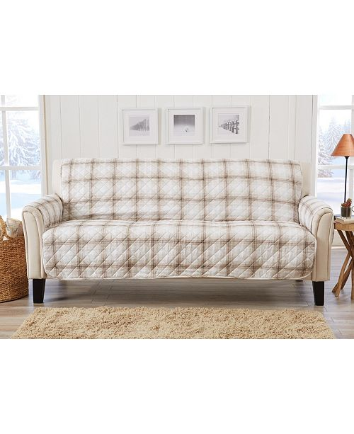 Great Bay Home Fashions Plaid Printed Reversible Sofa Furniture Protector