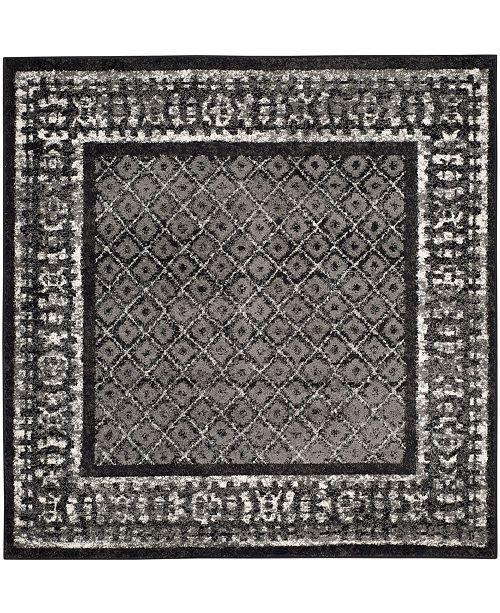 Adirondack Black And Silver 4 X 4 Square Area Rug