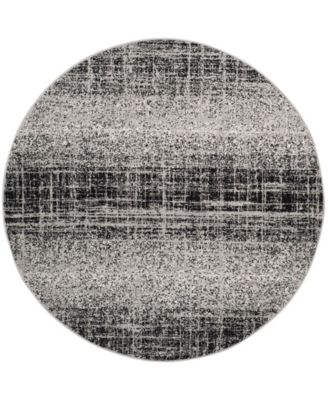 Adirondack Silver and Black 4' x 4' Round Area Rug