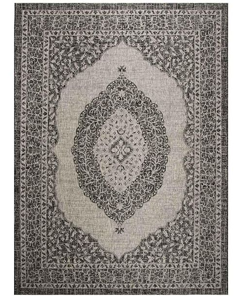 Safavieh Courtyard Light Gray and Black 9' x 12' Sisal Weave Area Rug