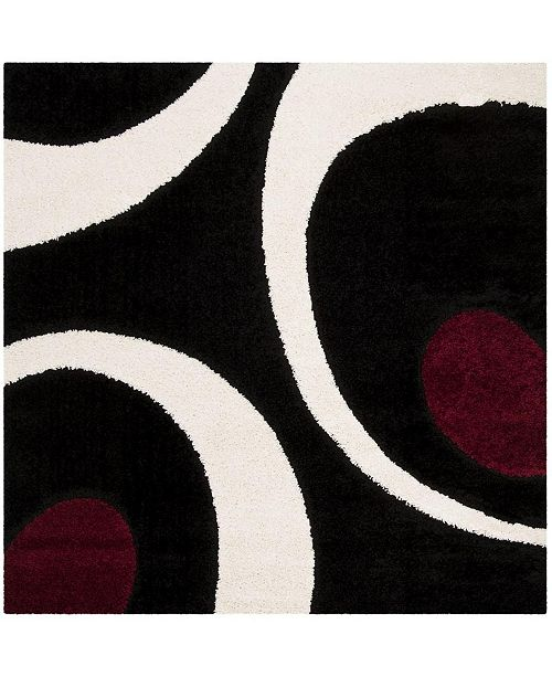 "Safavieh Shag Black and Ivory 6'7"" x 6'7"" Square Area Rug"