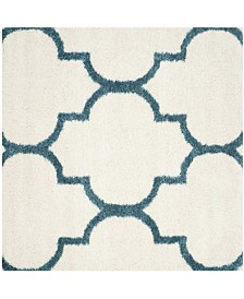 "Safavieh Shag Kids Ivory and Blue 6'7"" x 6'7"" Square Area Rug"