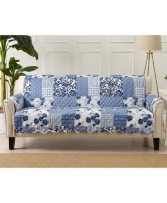 Patchwork Scalloped Printed Reversible Sofa Furniture Protector