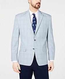 Michael Kors Men's Classic-Fit Blue/Cream Windowpane Plaid Sport Coat