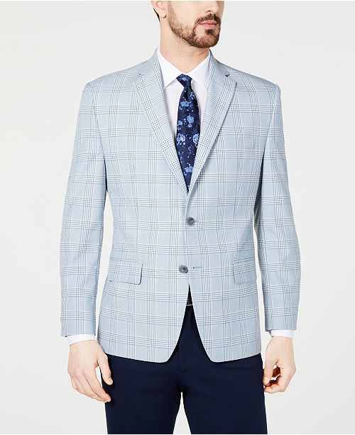 Michael Kors Men's Classic-Fit Blue/Cream Windowpane Plaid Sport Coat