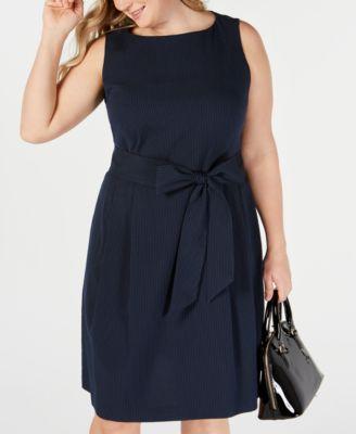 Finders | Plus Size Seersucker Boat-Neck A-Line Dress