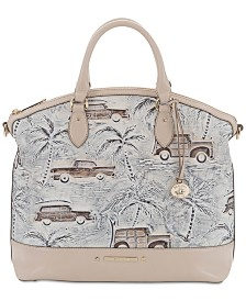 Large Duxbury Ivory Copa Cabana Embossed Leather Satchel