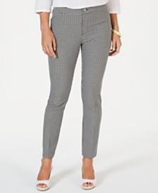 Charter Club Petite Checked-Print Slim-Leg Pants, Created for Macy's