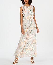 Floral Ruffled Drawstring Maxi Dress
