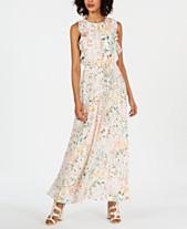 5eee07fa436 Calvin Klein Floral Ruffled Drawstring Maxi Dress
