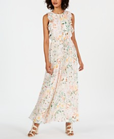 Calvin Klein Floral Ruffled Drawstring Maxi Dress