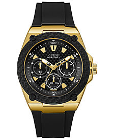 GUESS Men's Legacy Black Silicone Strap Watch 45mm