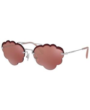 7a351196e Miu Miu Women's Brow Bar Scalloped Round Sunglasses, 55Mm In Silver/Pink  Mirror Flash