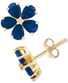 Sapphire (1-3/4 ct. t.w.) & Diamond Accent Stud Earrings in 14k Gold(Also Available In Emerald)
