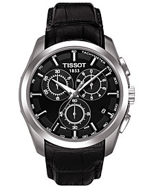 Tissot Men's Swiss Chronograph T-Classic Courturier Black Leather Strap Watch 41mm