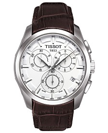 Tissot Men's Swiss Chronograph T-Classic Couturier Brown Leather Strap Watch 41mm
