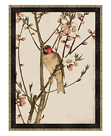 """Ruby Throat and Peach Blossoms Framed Giclee Wall Art - 35"""" x 47"""" x 2"""""""