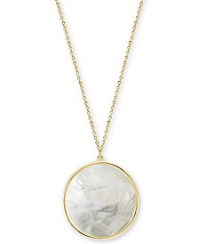 "Argento Vivo Mother-of-Pearl Disc 16-1/2"" Pendant Necklace in Gold-Plated Sterling Silver"