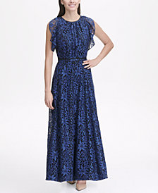 Tommy Hilfiger Indigo Lace Flutter Sleeve Maxi Dress
