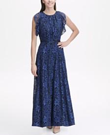 Tommy Hilfiger Indigo Lace Flutter Sleeve Maxi Dress